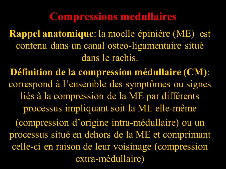 Compressions medullaires