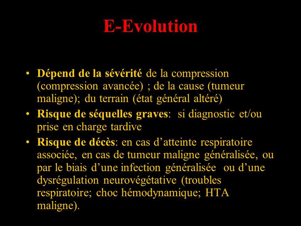 E-Evolution Dépend de la sévérité de la compression (compression avancée) ; de la cause (tumeur maligne); du terrain (état général altéré)