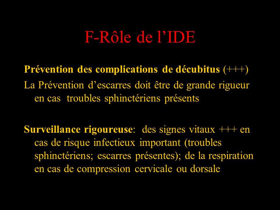 F-Rôle de l'IDE Prévention des complications de décubitus (+++)