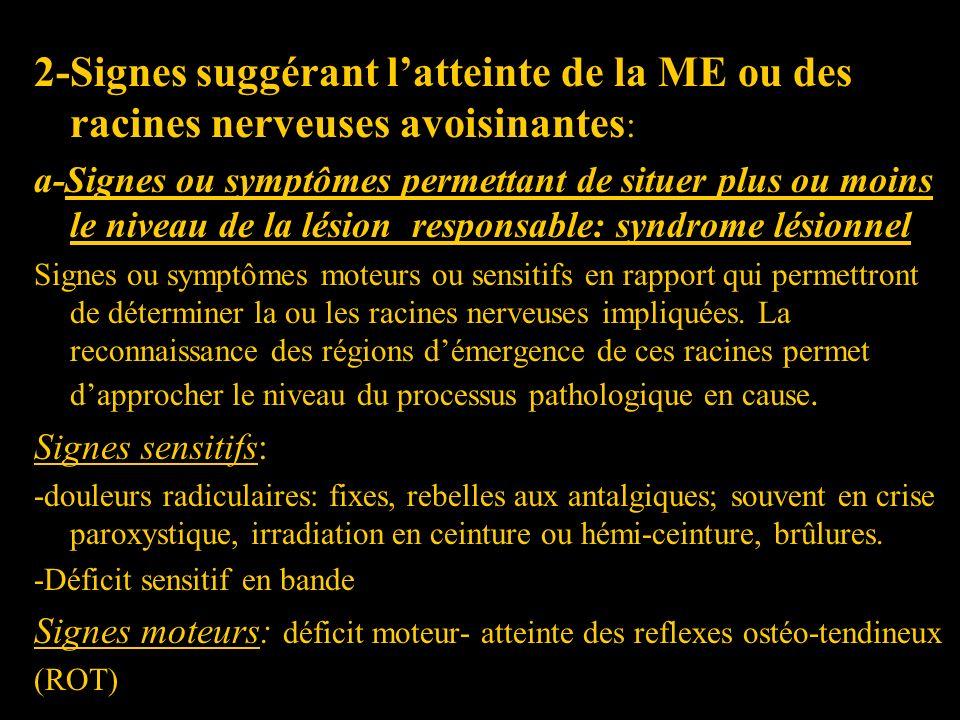 2-Signes suggérant l'atteinte de la ME ou des racines nerveuses avoisinantes: