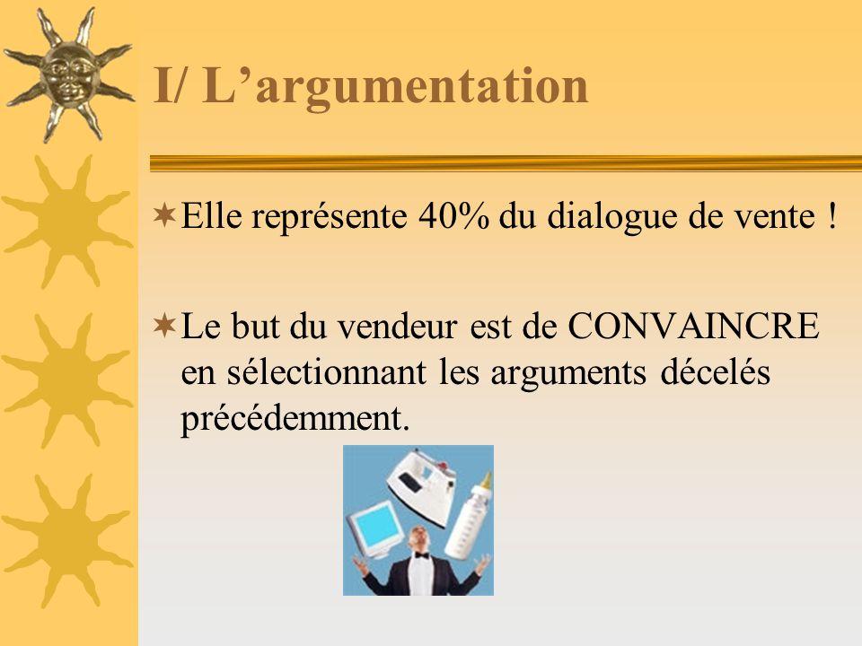 I/ L'argumentation Elle représente 40% du dialogue de vente !