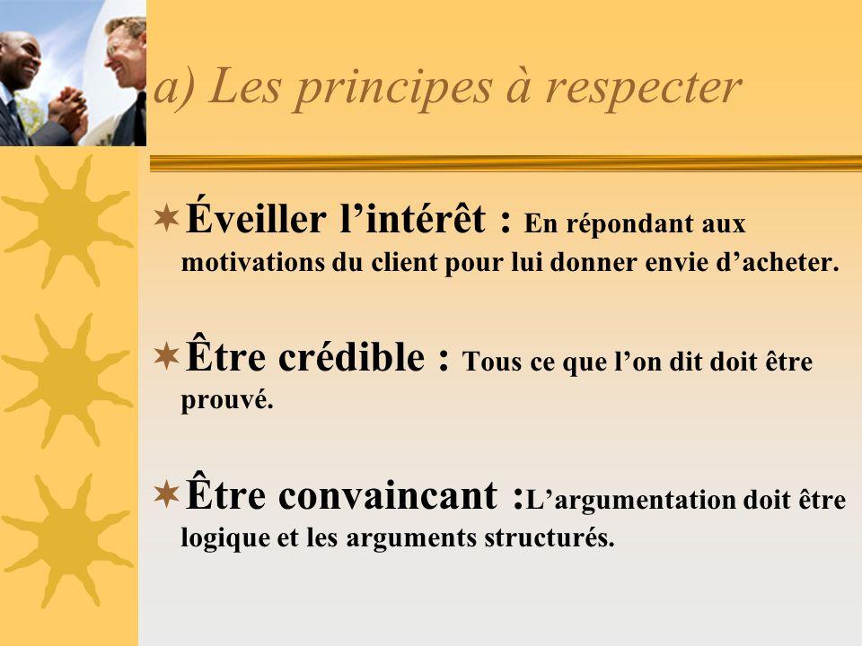 a) Les principes à respecter