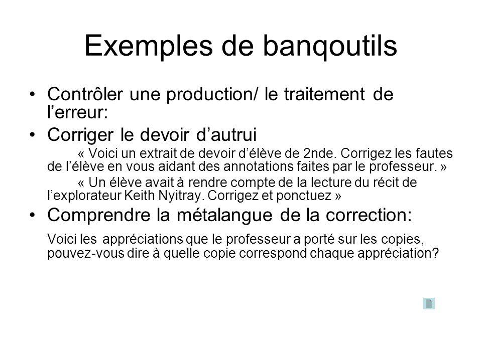 Exemples de banqoutils