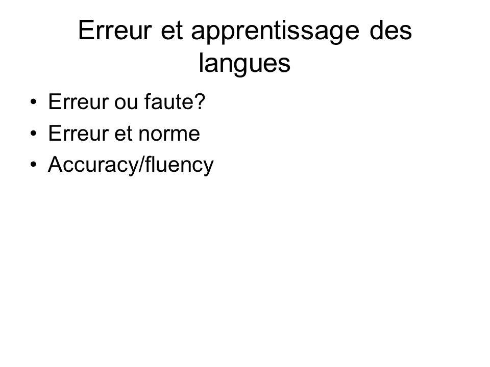Erreur et apprentissage des langues