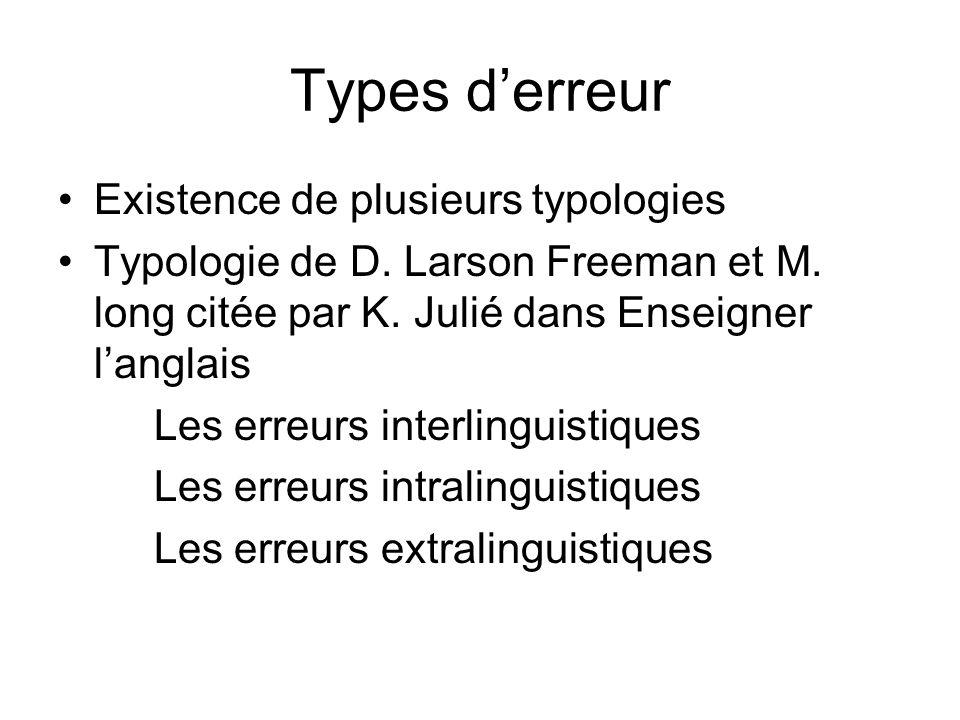 Types d'erreur Existence de plusieurs typologies