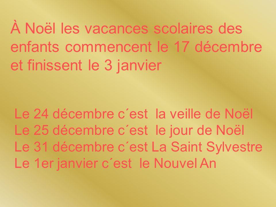 À Noël les vacances scolaires des enfants commencent le 17 décembre