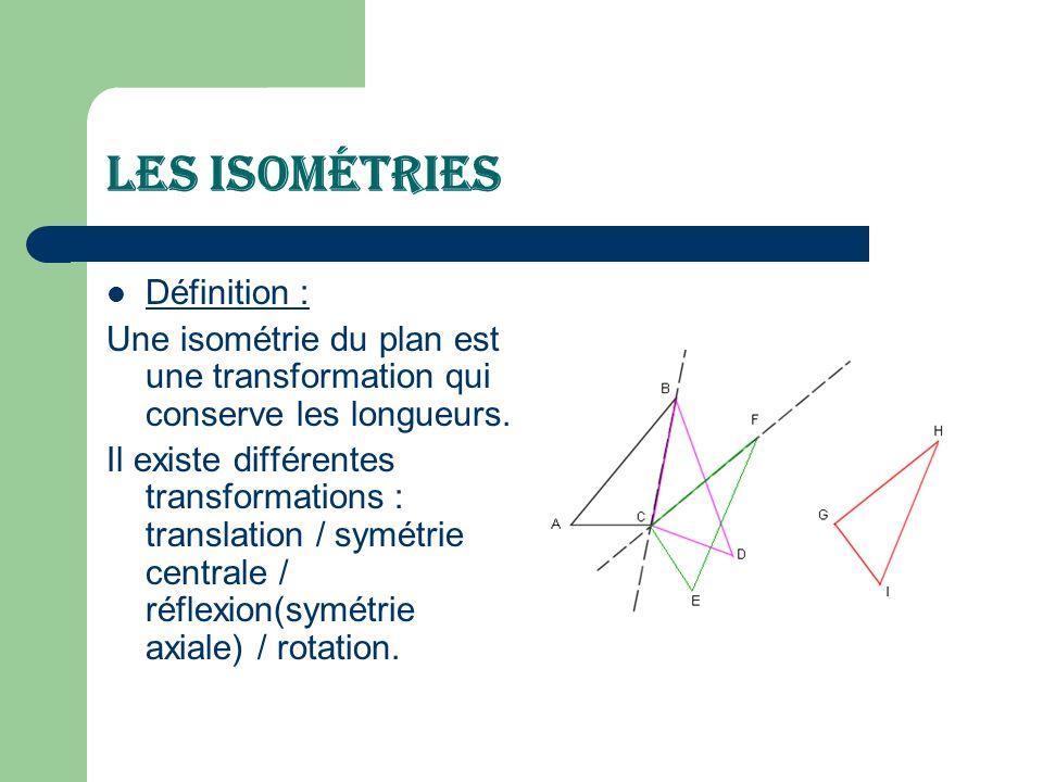 Les Isométries Définition :