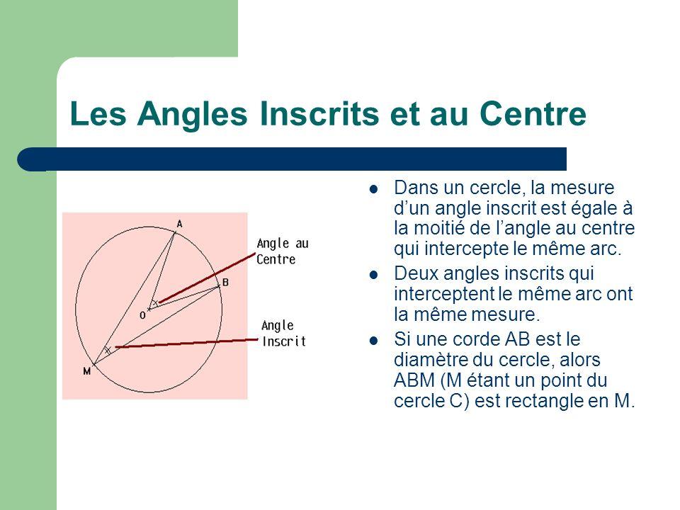 Les Angles Inscrits et au Centre