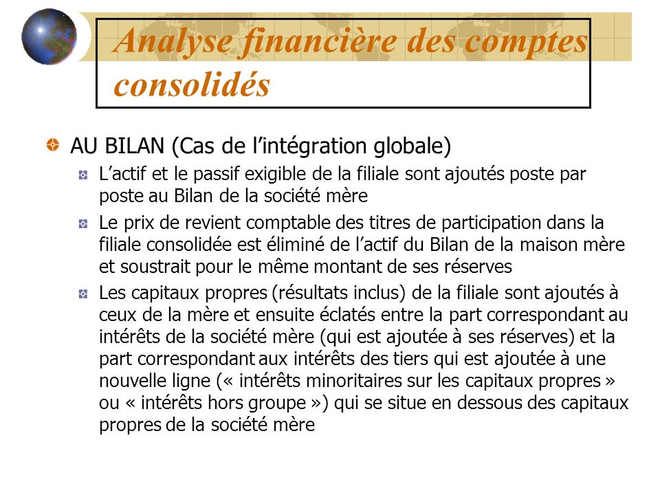 elements financiers pour marketeurs ii analyse financi re des comptes consolid s impacts sur. Black Bedroom Furniture Sets. Home Design Ideas