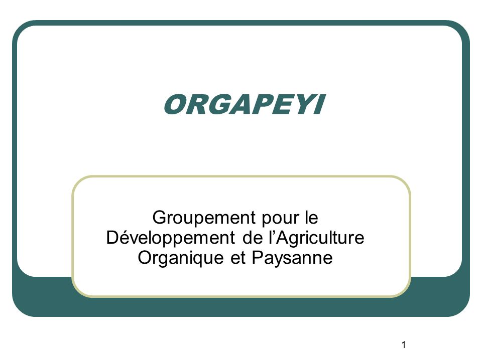 ORGAPEYI Groupement pour le Développement de l'Agriculture Organique et Paysanne