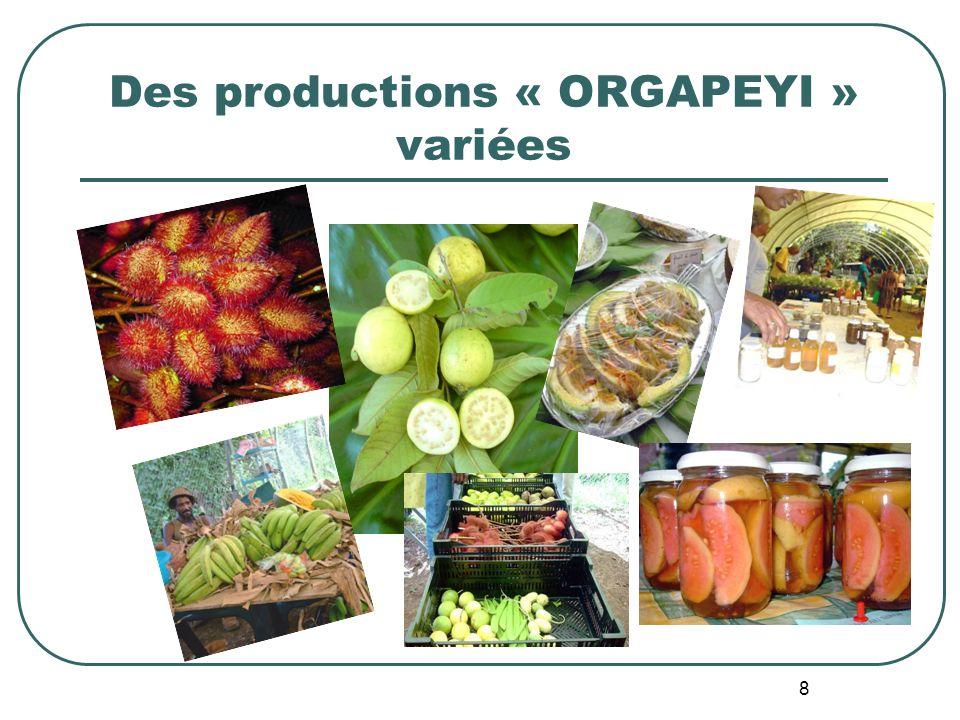 Des productions « ORGAPEYI » variées