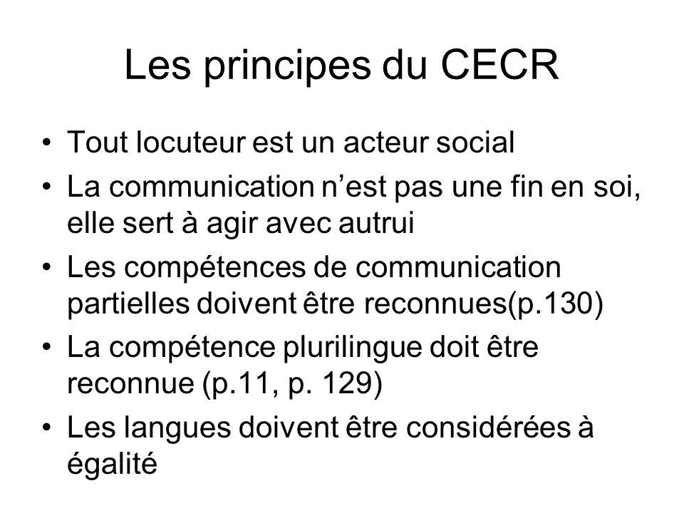 Les principes du CECR Tout locuteur est un acteur social