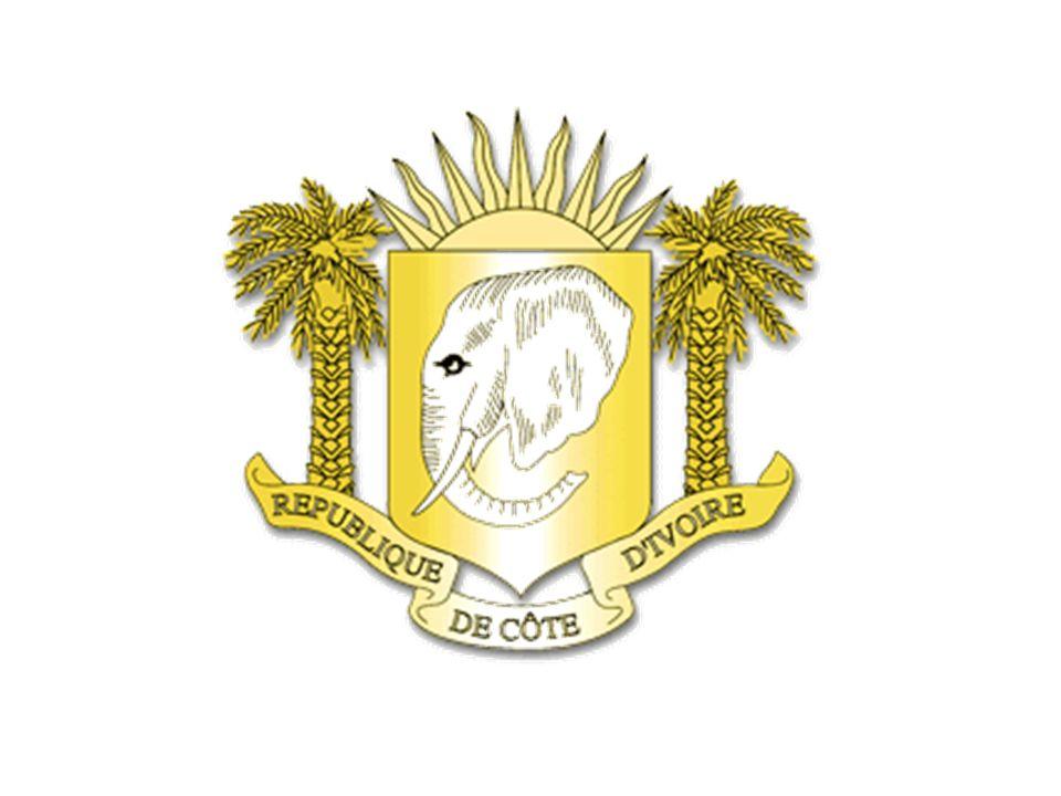 Les Armoiries de la République de Côte d'Ivoire sont composées de l'Eléphant, de deux Palmiers et d'un Soleil levant.