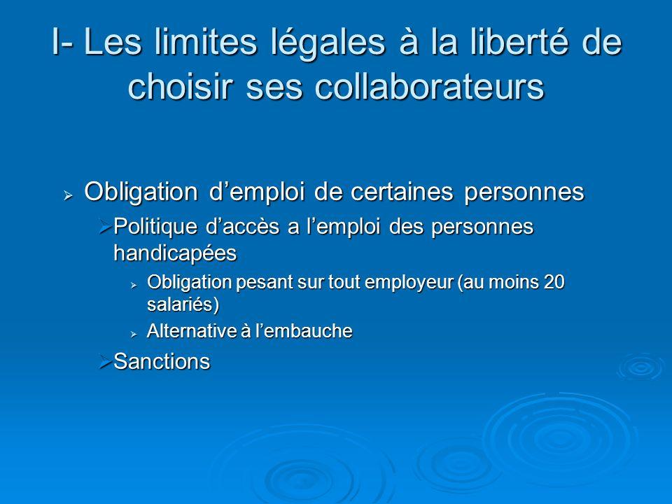 I- Les limites légales à la liberté de choisir ses collaborateurs