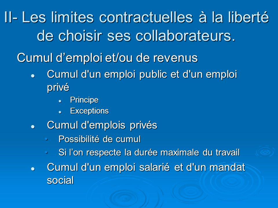 II- Les limites contractuelles à la liberté de choisir ses collaborateurs.