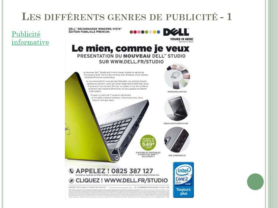 Les différents genres de publicité - 1