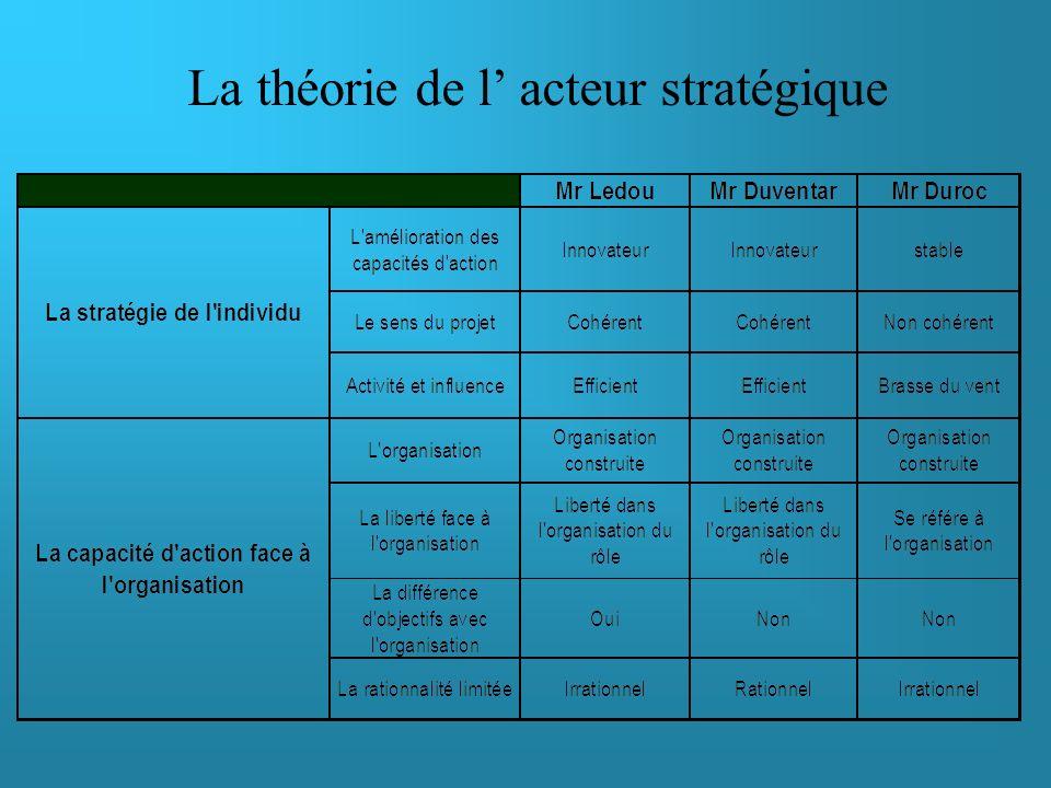 La théorie de l' acteur stratégique