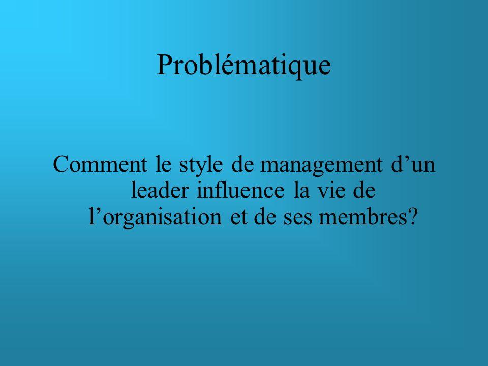 Problématique Comment le style de management d'un leader influence la vie de l'organisation et de ses membres