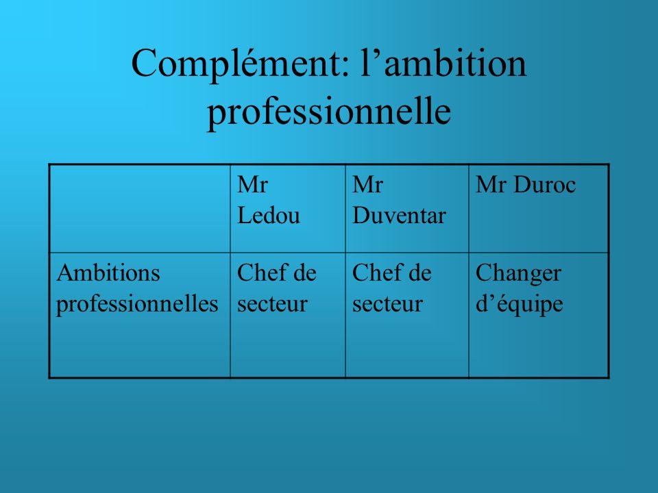 Complément: l'ambition professionnelle
