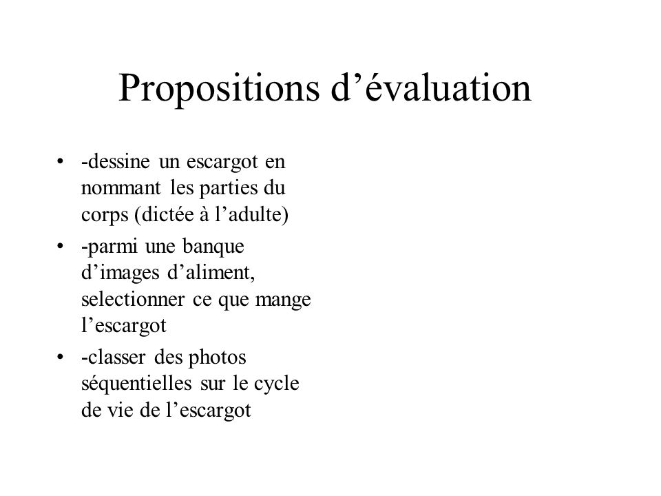 Propositions d'évaluation