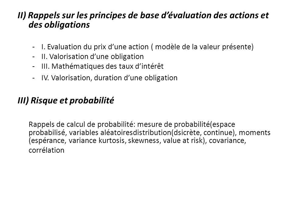 III) Risque et probabilité