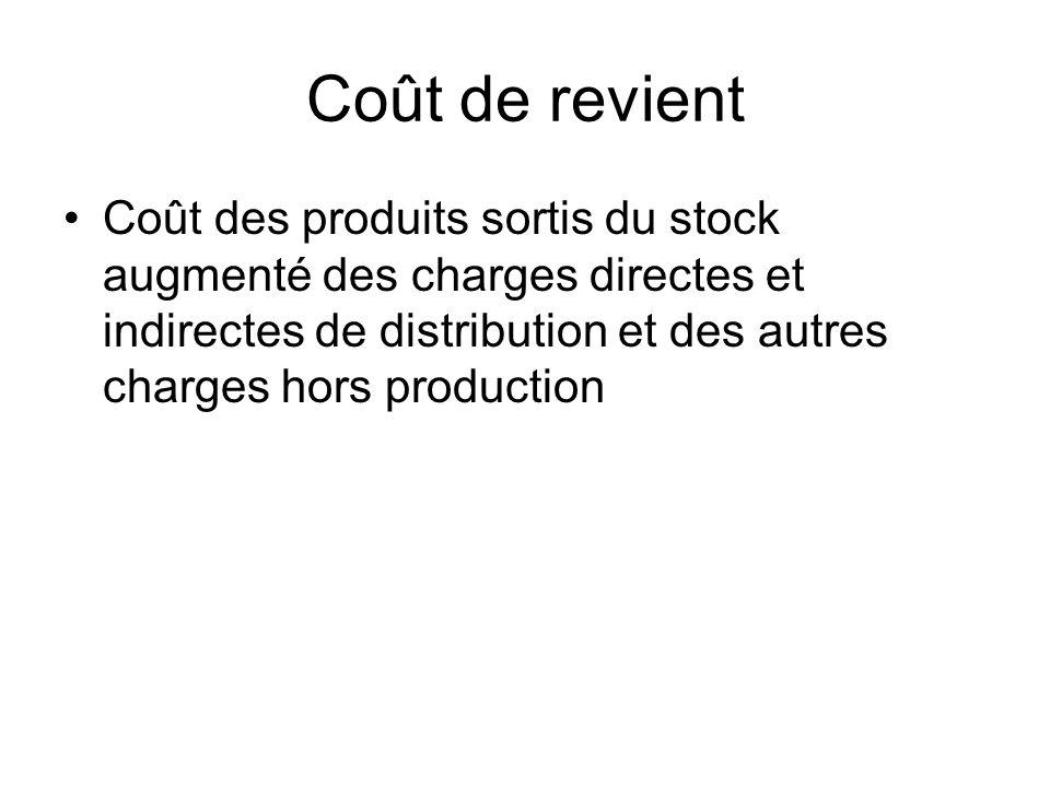 Coût de revient Coût des produits sortis du stock augmenté des charges directes et indirectes de distribution et des autres charges hors production.