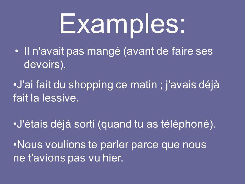Examples: Il n avait pas mangé (avant de faire ses devoirs).