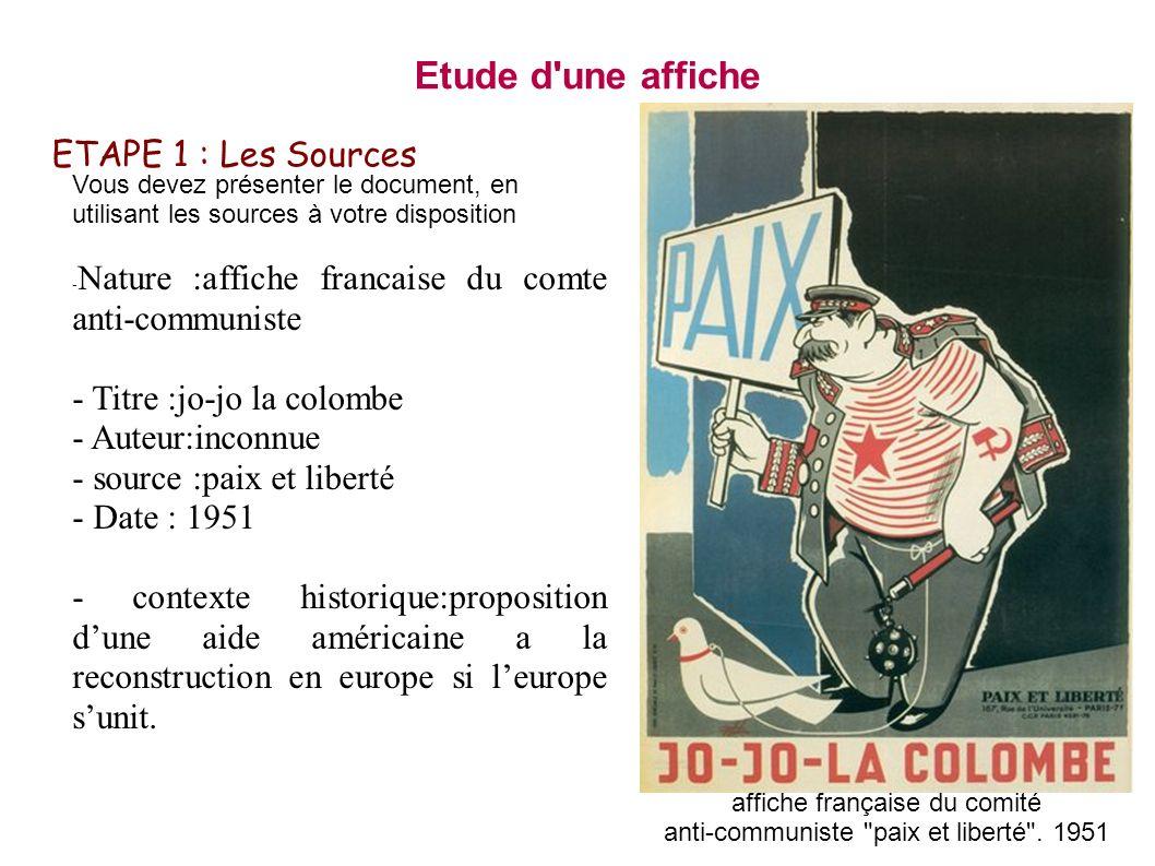 Etude d une affiche ETAPE 1 : Les Sources