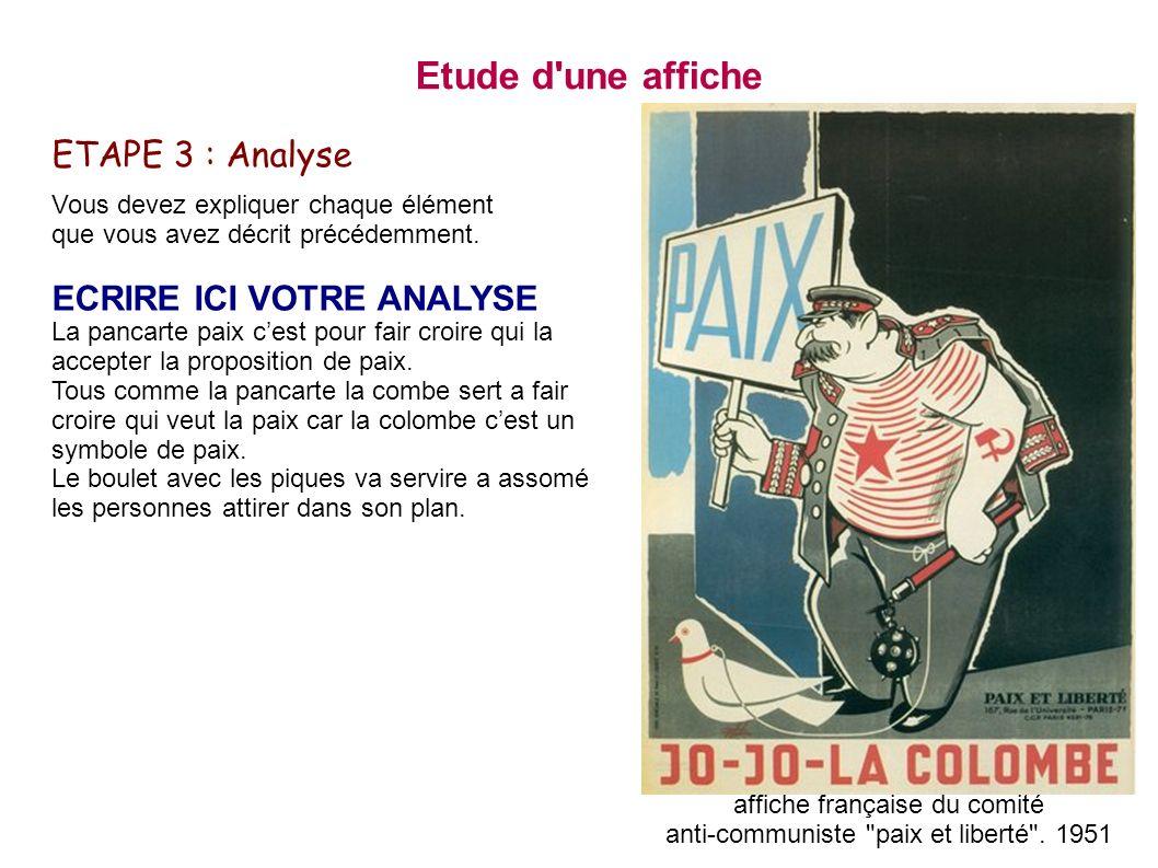 Etude d une affiche ETAPE 3 : Analyse ECRIRE ICI VOTRE ANALYSE
