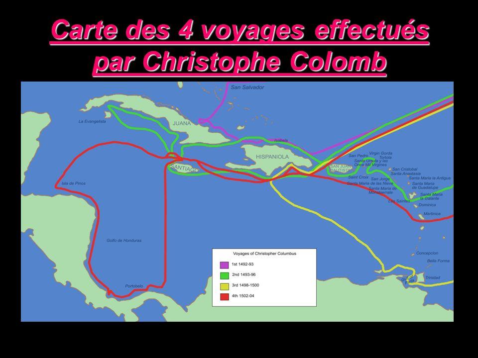 Carte des 4 voyages effectués par Christophe Colomb