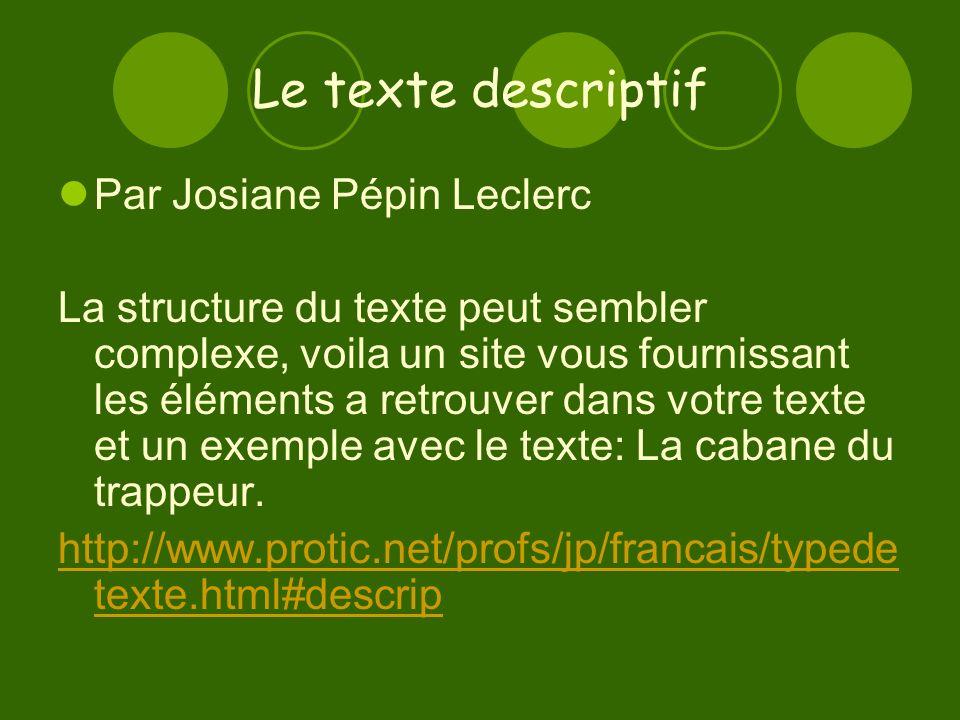 Le texte descriptif Par Josiane Pépin Leclerc