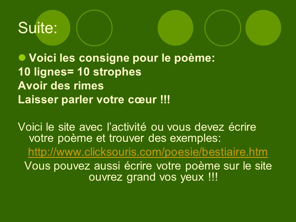 Suite: Voici les consigne pour le poème: 10 lignes= 10 strophes