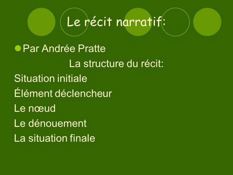 Le récit narratif: Par Andrée Pratte La structure du récit: