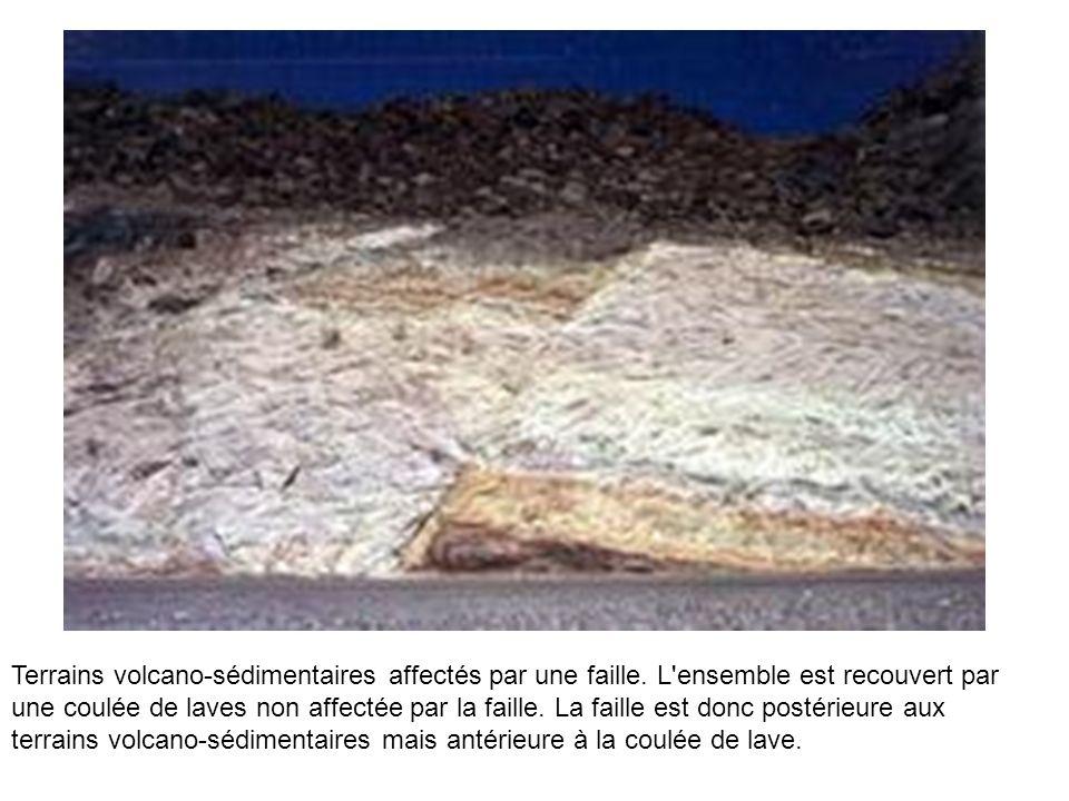 Terrains volcano-sédimentaires affectés par une faille