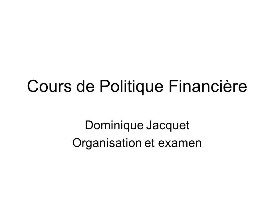 Cours de Politique Financière