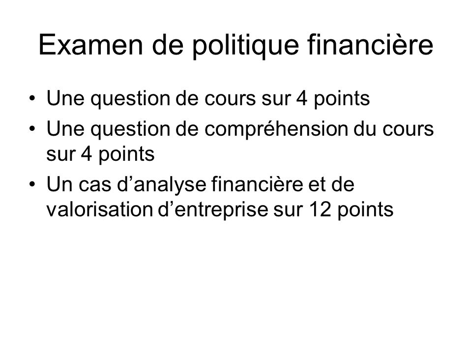 Examen de politique financière
