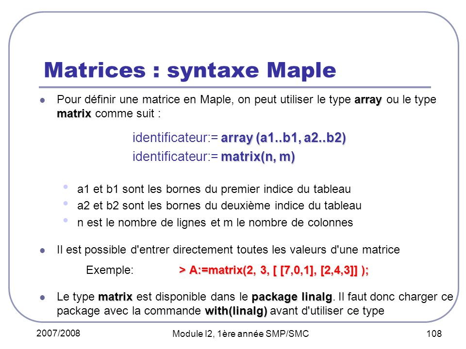 Matrices : syntaxe Maple