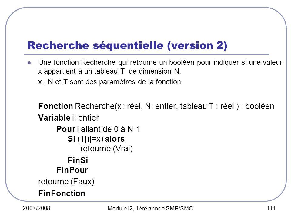 Recherche séquentielle (version 2)