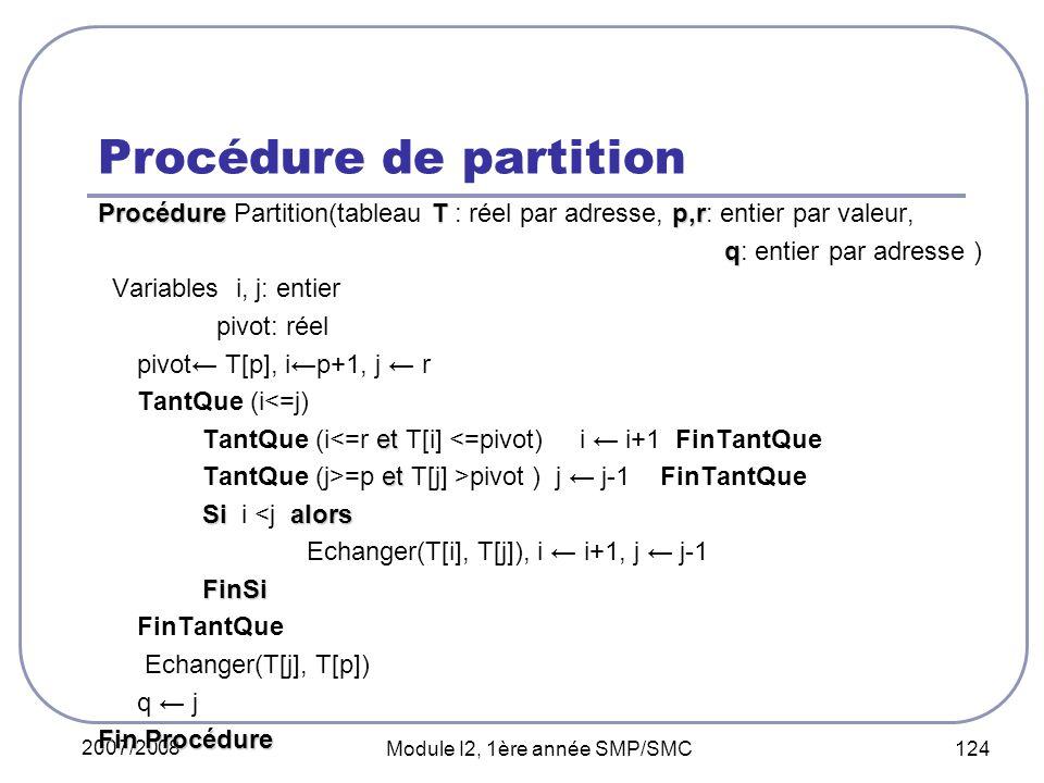 Procédure de partition