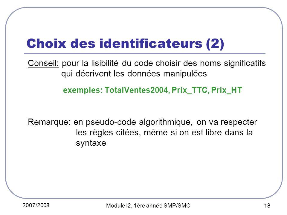 Choix des identificateurs (2)