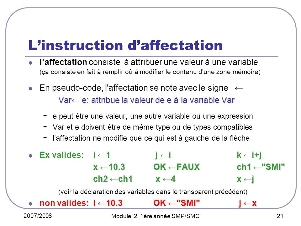 L'instruction d'affectation