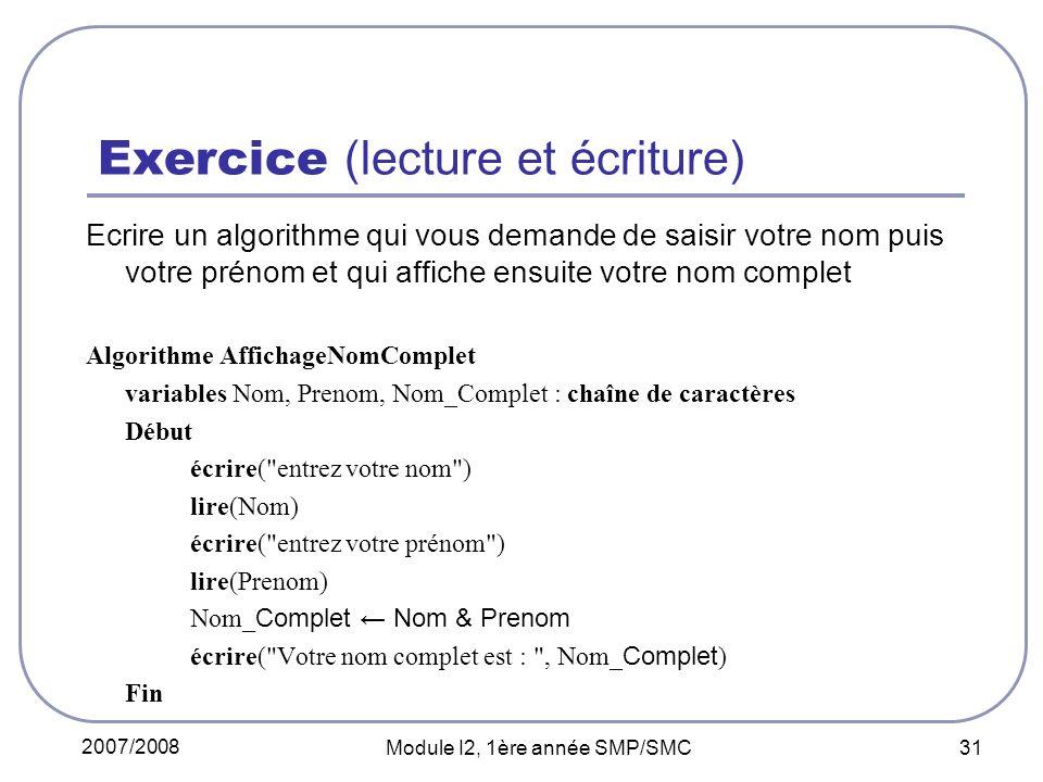 Exercice (lecture et écriture)