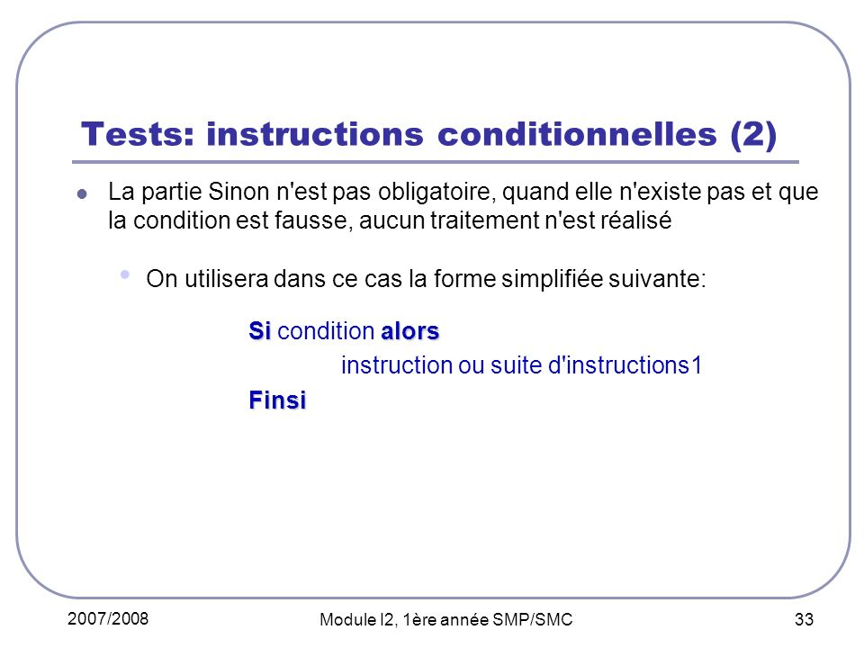 Tests: instructions conditionnelles (2)