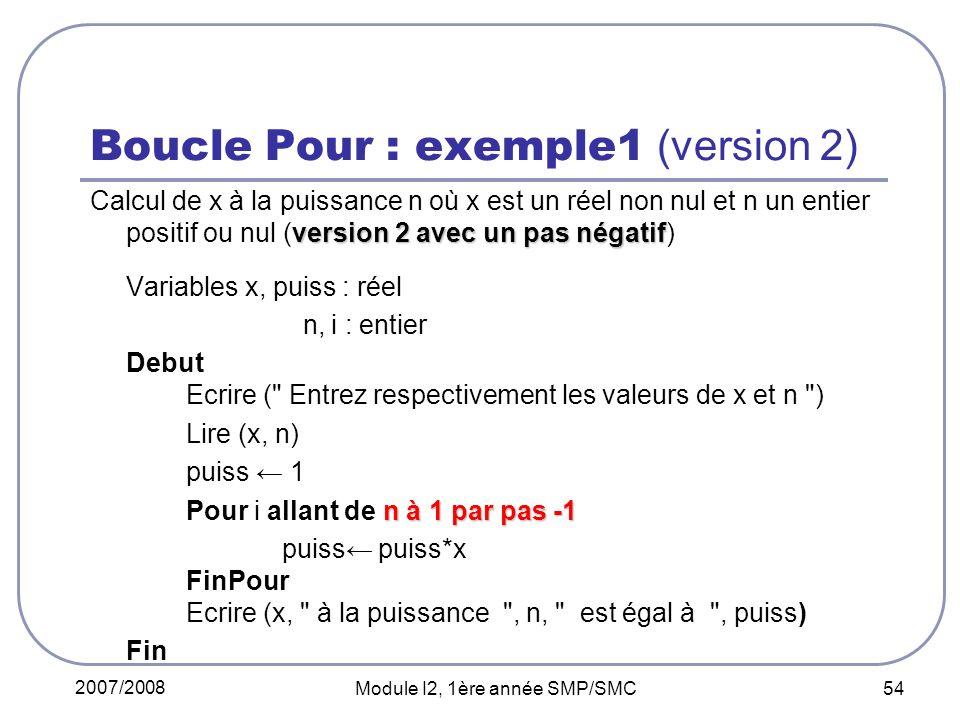 Boucle Pour : exemple1 (version 2)