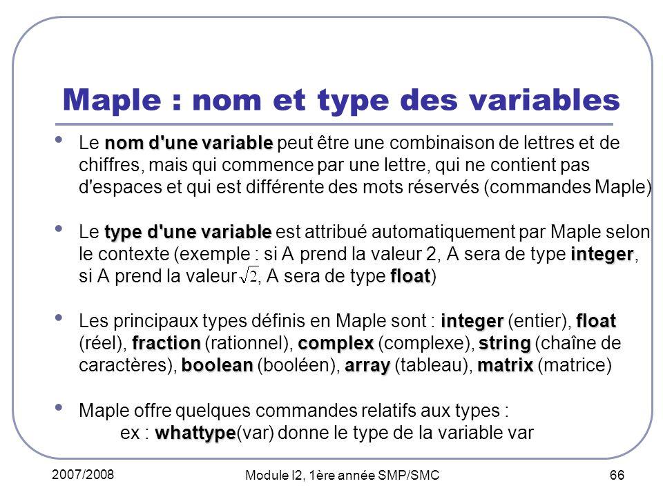 Maple : nom et type des variables