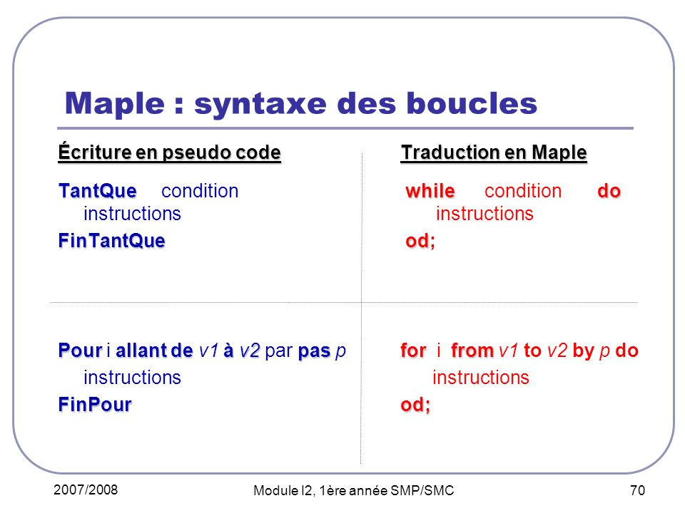 Maple : syntaxe des boucles