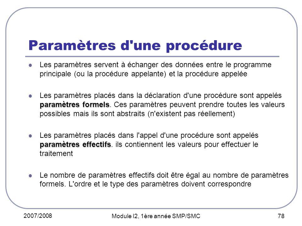 Paramètres d une procédure