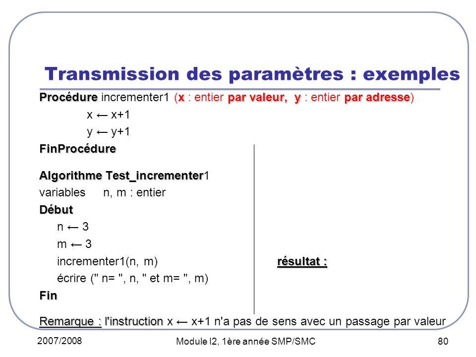 Transmission des paramètres : exemples