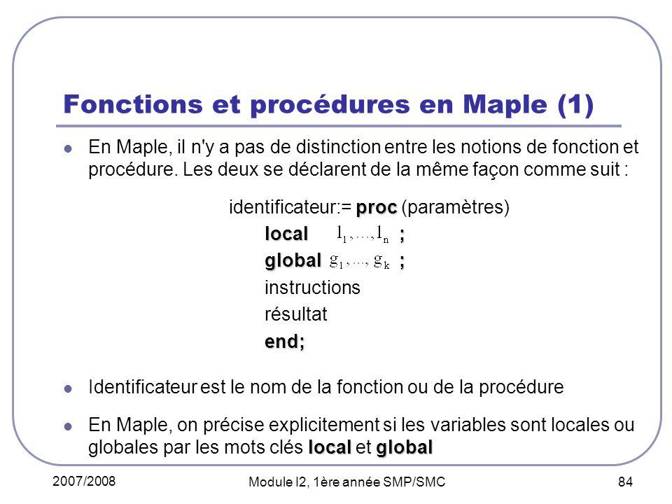 Fonctions et procédures en Maple (1)