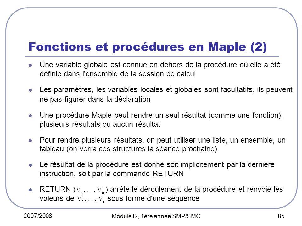 Fonctions et procédures en Maple (2)